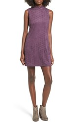 Trixxi Women's High Neck Faux Suede Shift Dress Purple