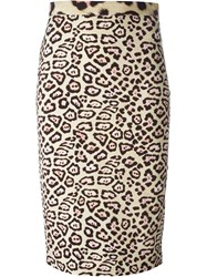 Givenchy Leopard Print Pencil Skirt Nude And Neutrals