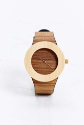 Analog Teak And Bamboo Watch Light Brown
