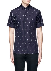 Neil Barrett Batik Motif Cotton Poplin Shirt Blue