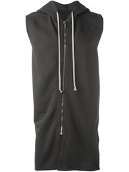 Rick Owens Drkshdw Sleeveless Zipped Hoodie Grey