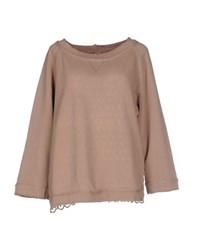 European Culture Topwear Sweatshirts Women Light Brown