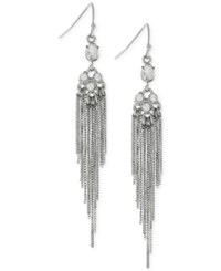 Bcbgeneration Silver Tone Fringe Drop Earrings