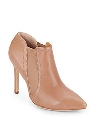 Halston Leather Gore Booties Camel