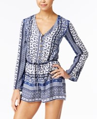 Be Bop Juniors' Printed Romper Denim