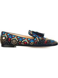 Giuseppe Zanotti Design Studded Tassel Detail Slippers Blue