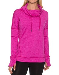 Betsey Johnson Long Sleeve Heathered Pullover Berry Space Dye