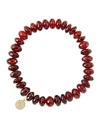 8Mm Faceted Garnet Beaded Bracelet With 14K Yellow Gold Diamond Small Disc Charm Made To Order