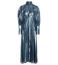 Ellery Contained Voluminous Sleeve Metallic Dress Blue