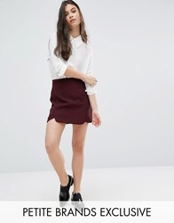 Alter Petite Scallop Hem Mini Aline Skirt Plum Red