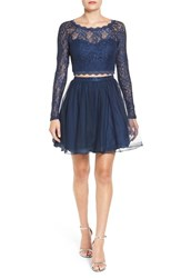 Sequin Hearts Women's Long Sleeve Lace Two Piece Skater Dress