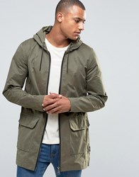 D Struct Long Line Parka Jacket Green
