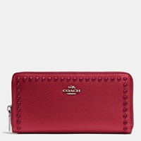 Coach Accordion Zip Wallet In Lacquer Rivets Pebble Leather Silver Red Currant