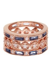 Savvy Cie 18K Rose Gold Plated Sterling Silver Created Sapphire Ring Set Set Of 3 Multi