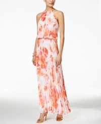 Msk Printed Pleated Halter Gown Ivory Coral Pink