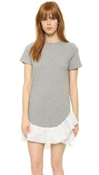 Clu Eyelet Ruffle Sweatshirt Dress Heather Grey