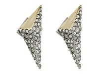 Alexis Bittar Two Tone Crystal Encrusted Pyramid Post Earrings Matte Rhodium High Shine 10K Gold