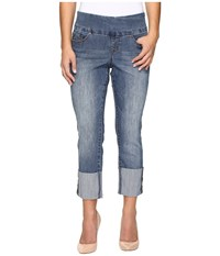 Jag Jeans Petite Lewis Straight Cuffed Comfort Denim In Weathered Blue Weathered Blue Women's Navy