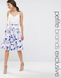 Chi Chi Petite London Full Prom Midi Skater Skirt In Floral Print Blush Floral Multi