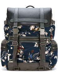 Dolce And Gabbana Bird Print Backpack Blue