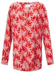 Hartford Hype Palm Print Blouse Red White Geo