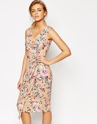 Closet Midi Dress In Floral Print With Wrap Front Multi