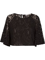 Martha Medeiros 'Marescot' Lace Crop Top Black