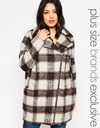 Junarose Brushed Check Coat Multi