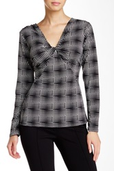 Laundry By Shelli Segal Printed Twisted Front Blouse Black