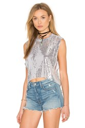 Indah Jess Sequined Crop Top Metallic Silver