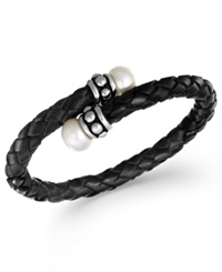 Honora Style Cultured Freshwater Pearl Leather Bangle Bracelet 9 1 2Mm Black