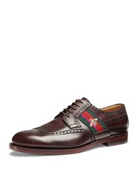 Gucci Strand Leather Lace Up Shoe With Bee Web Brown