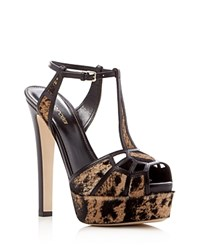 Sergio Rossi Puzzle Calf Hair T Strap High Heel Platform Sandals Black Tan