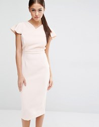 Vesper Pencil Dress With Frill Sleeve Blush Nude Pink