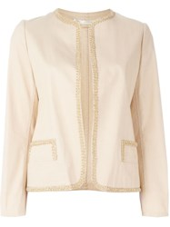 Yohji Yamamoto Vintage Embroidered Open Front Jacket Nude And Neutrals