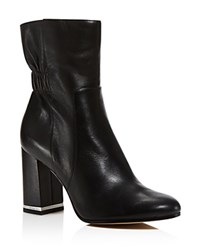 Michael Michael Kors Ursula Ruched Leather Ankle Boots 100 Bloomingdale's Exclusive Black