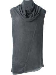 Lost And Found Draped Scarf Detail Tank Top Grey