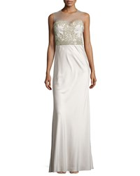 Catherine Deane Beaded Illusion Neck Gown Opal Gray