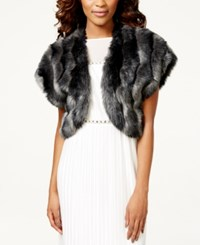 Tahari Asl Faux Fur Bolero Shrug Grey
