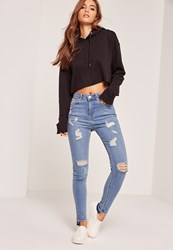 Missguided High Waisted Step Hem Skinny Jeans Blue