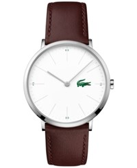 Lacoste Men's Moon Brown Leather Strap Watch 40Mm 2010872 White
