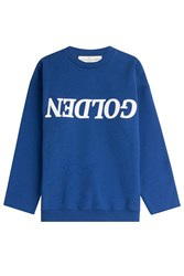 Golden Goose Cotton Logo Sweatshirt Blue