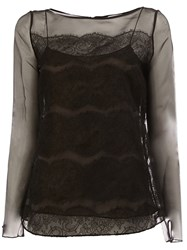 Oscar De La Renta Layered Blouse Black