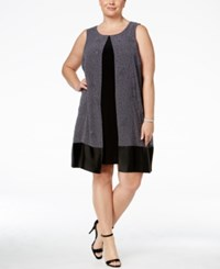 Si Fashions Sl Plus Size Flocked Glitter Chiffon Flyaway Dress Gray Black
