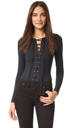 David Lerner Lace Up Bodysuit Classic Black