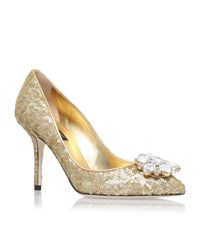 Dolce And Gabbana Bellucci Sequin Pumps 90 Female Gold