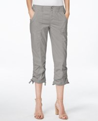 Inc International Concepts Petite Ruched Leg Cargo Capri Pants Only At Macy's Sky Grey