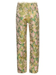 Marques Almeida Floral Brocade Boyfriend Trousers Green Multi