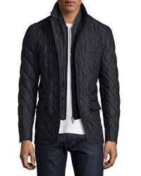 Burberry Quilted Wool Jacket W Detachable Warmer Charcoal