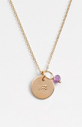 Women's Nashelle 14K Gold Fill And Semiprecious Birthstone Zodiac Mini Disc Necklace Aquarious